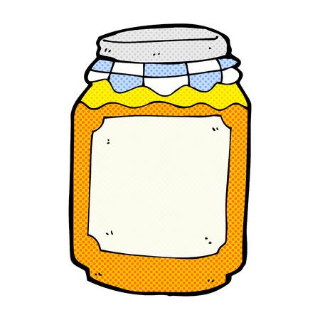 marmalade: retr� stile fumetto cartone animato barattolo di marmellata Vettoriali