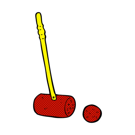 mallet: retro comic book style cartoon croquet mallet and ball Illustration