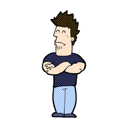 sulking: retro comic book style cartoon sulking man