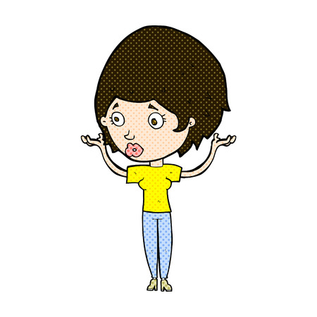 hands in the air: retro comic book style cartoon woman raising hands in air Illustration
