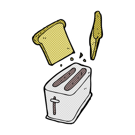 spitting: retro comic book style cartoon toaster spitting out bread