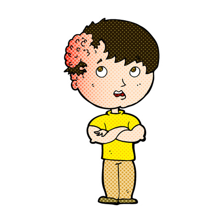 tumor growth: retro comic book style cartoon boy with growh on head Illustration