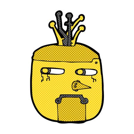 robot head: retro comic book style cartoon gold robot head
