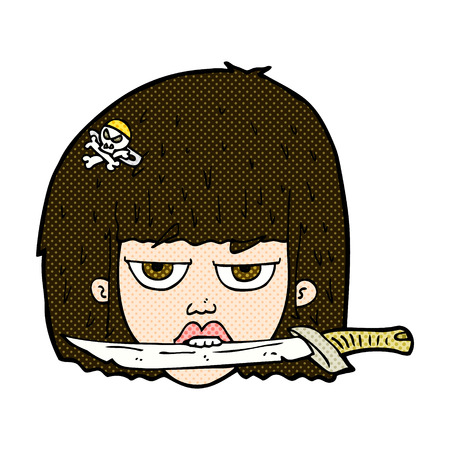 レトロな漫画スタイル漫画女性の歯の間のナイフを保持