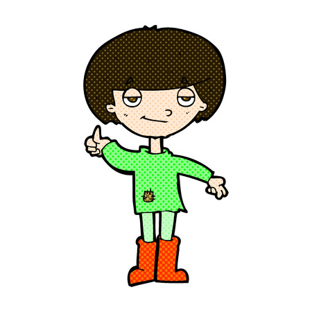retro comic book style cartoon boy in poor clothing giving thumbs up symbol