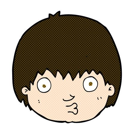 curious: retro comic book style cartoon curious boy Illustration