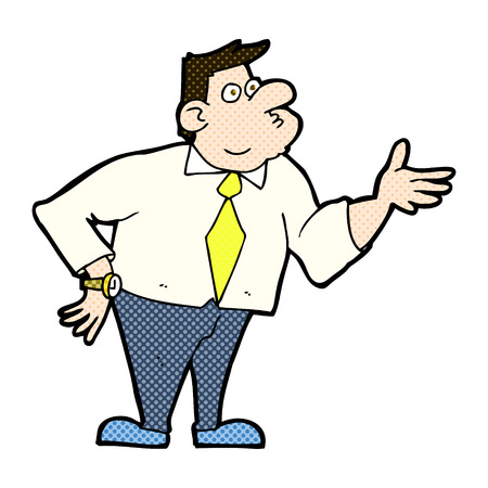 asking: retro comic book style cartoon businessman asking question