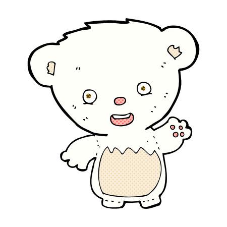bear cub: retro comic book style cartoon polar bear cub waving Illustration