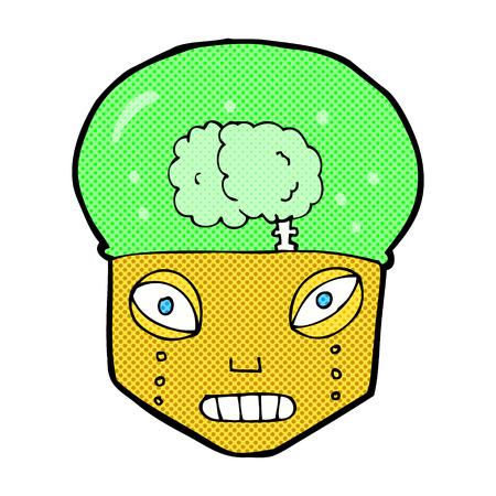robot head: retro comic book style cartoon spooky robot head