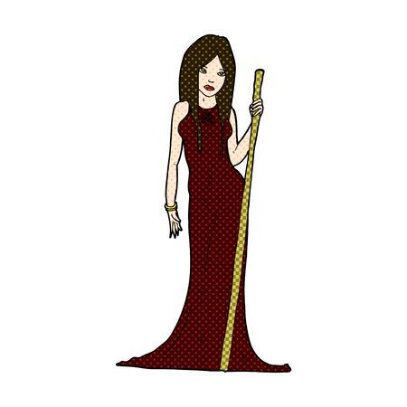 wicca: retro comic book style cartoon sorceress