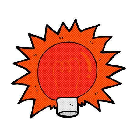 flashing: retro comic book style cartoon flashing red light bulb Illustration