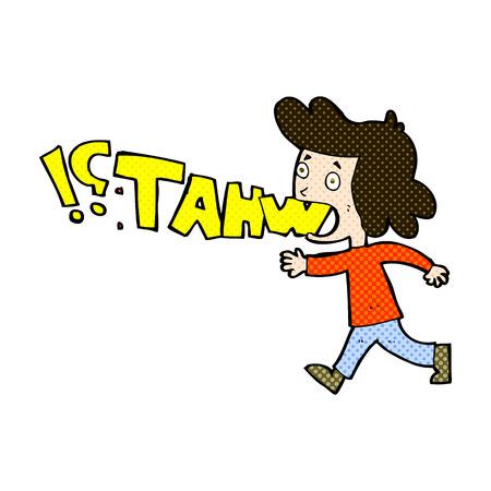 shouting: retro comic book style cartoon woman shouting what