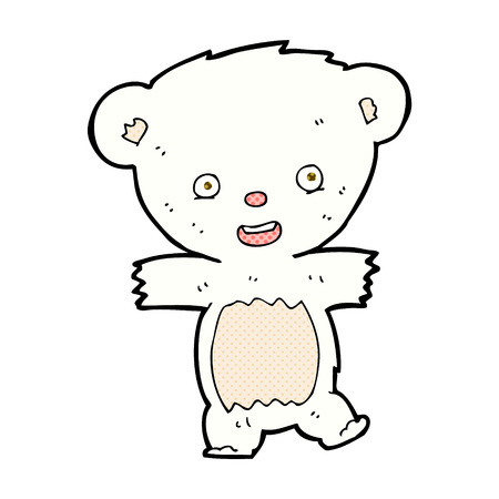 bear cub: retro comic book style cartoon teddy polar bear cub