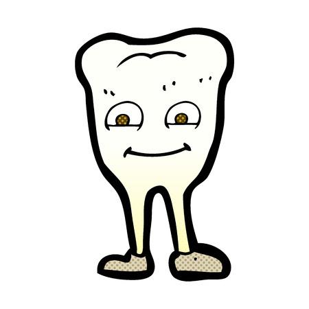 rotten teeth: retro comic book style cartoon tooth