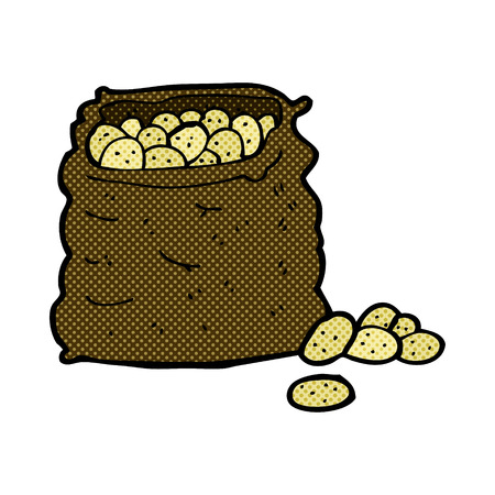 retro comic book style cartoon sack of potatoes Vector