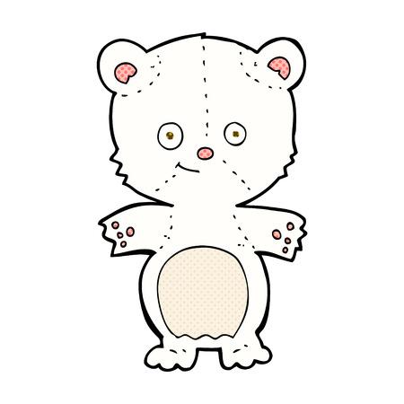 bear cub: retro comic book style cartoon polar bear cub