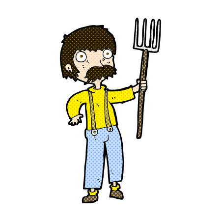 retro comic book style cartoon farmer with pitchfork