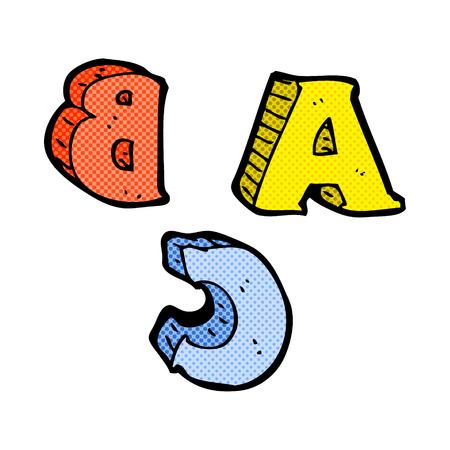 retro comic book style cartoon ABC letters Vector
