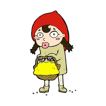 caperucita roja: caperucita rojo retro del c�mic de dibujos animados estilo