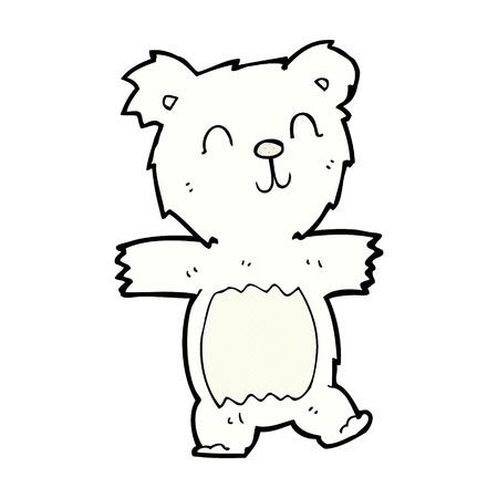 bear cub: retro comic book style cartoon cute polar bear cub Illustration