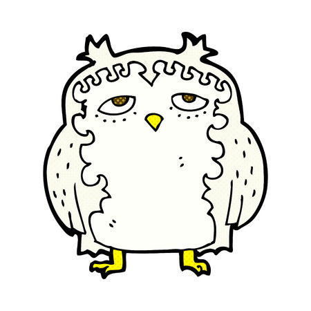 wise old owl: retro comic book style cartoon wise old owl