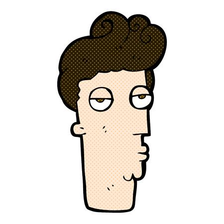 jaded: retro comic book style cartoon bored mans face