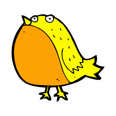 fat bird: retro comic book style cartoon fat bird Illustration
