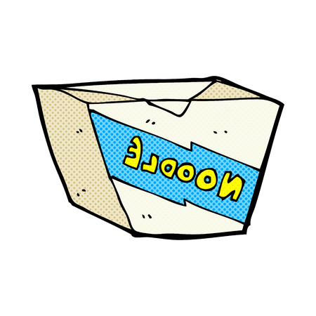 chinese takeout box: retro comic book style cartoon noodle box