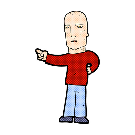 accuse: retro comic book style cartoon tough guy pointing