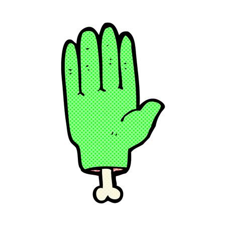 retro comic book style cartoon zombie hand