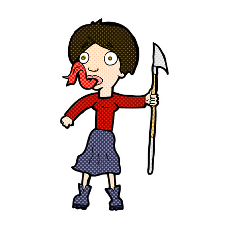 tongue woman: retro comic book style cartoon woman with spear sticking out tongue Illustration