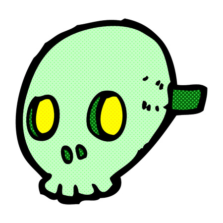 skull mask: retro comic book style cartoon skull mask