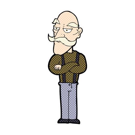 folded arms: retro comic book style cartoon bored old man
