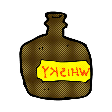 whisky: retro comic book style cartoon whisky jar