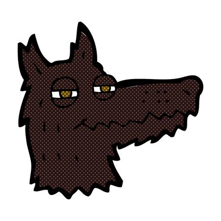 smug: retro comic book style cartoon smug wolf face