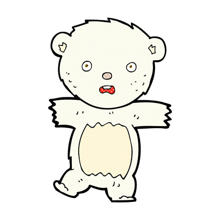 bear cub: retro comic book style cartoon shocked polar bear cub Illustration