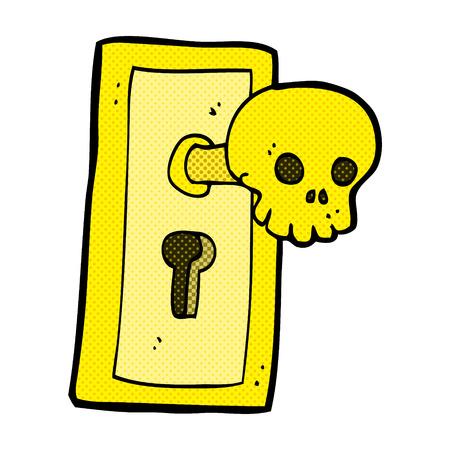 knob: retro comic book style cartoon spooky door knob