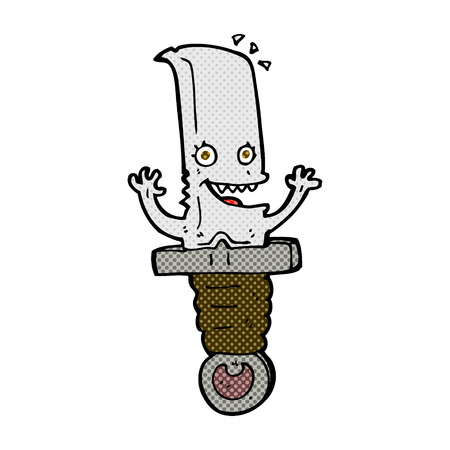 comic book character: crazy retro comic book style cartoon knife character