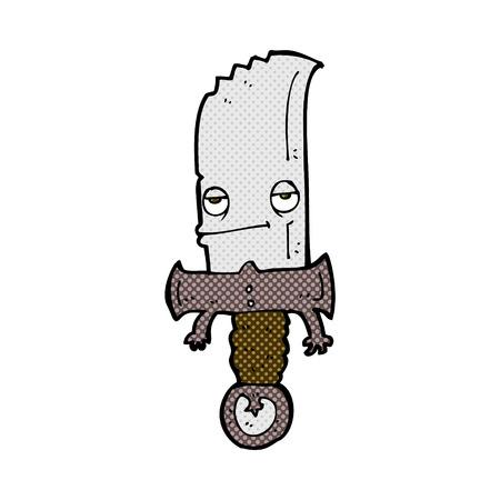comic book character: knife retro comic book style cartoon character
