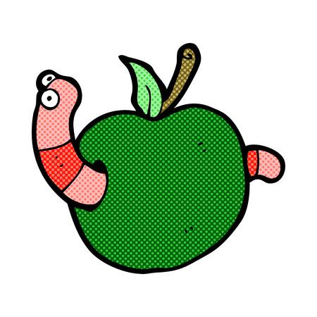 gusano caricatura: gusano de dibujos animados retro estilo del c�mic en la manzana Vectores