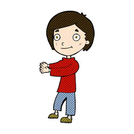 outstretched hand: retro comic book style cartoon happy boy