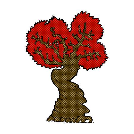 gnarled: retro comic book style cartoon big red old tree Illustration