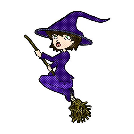 broomstick: retro comic book style cartoon witch riding broomstick