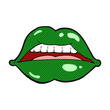 retro comic book style cartoon sexy halloween lips symbol Vector
