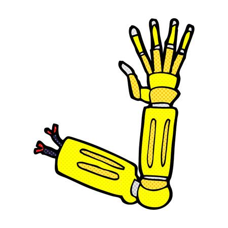 bras robot: bras de robot de dessin anim� r�tro bande dessin�e de style de livre Illustration