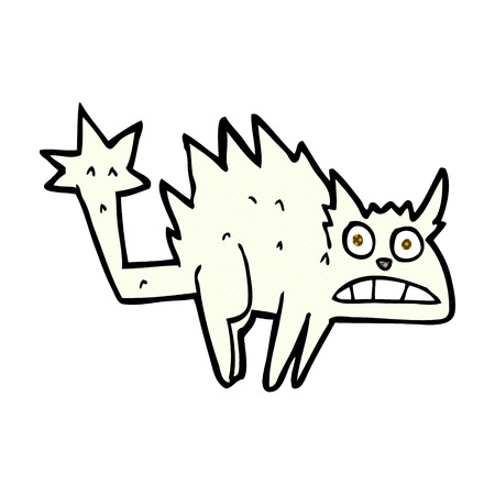 hissing: retro comic book style cartoon frightened cat Illustration