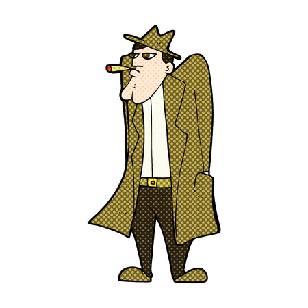 trench coat: retro comic book style cartoon man in hat and trench coat