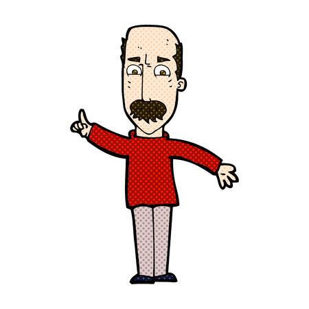 stern: retro comic book style cartoon man issuing stern waring