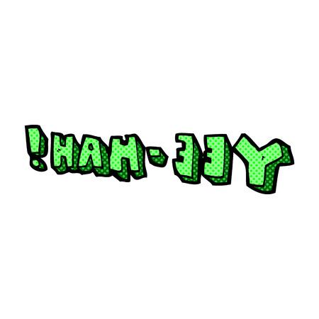 retro comic book style cartoon yeehah symbol