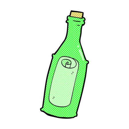 message in a bottle: retro comic book style cartoon message in bottle Illustration